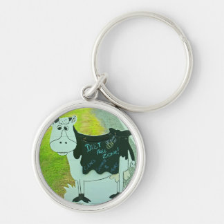 Diet free zone Silver-Colored round key ring