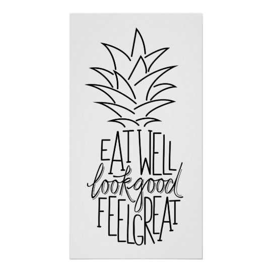 Diet quote design, pinapple shape. poster
