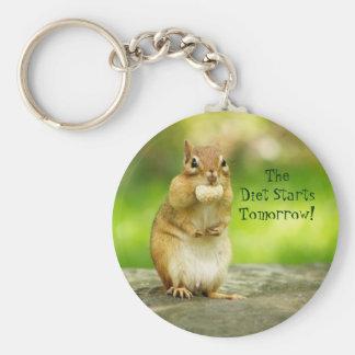 Diet Starts Tomorrow Chipmunk Basic Round Button Key Ring