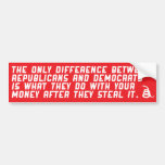 Difference between republicans and democrats. bumper sticker