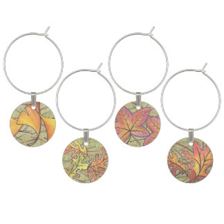 Different Autumn Tone Leave Shape Art Print Wine Charm