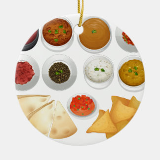 Different kind of chips and dips ceramic ornament