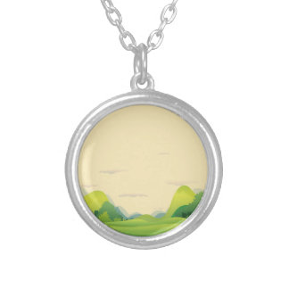 Different landforms silver plated necklace