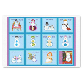 Different Strokes For Different Snow Folks squares Tissue Paper