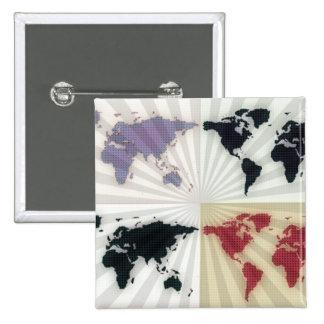 Different world maps 15 cm square badge