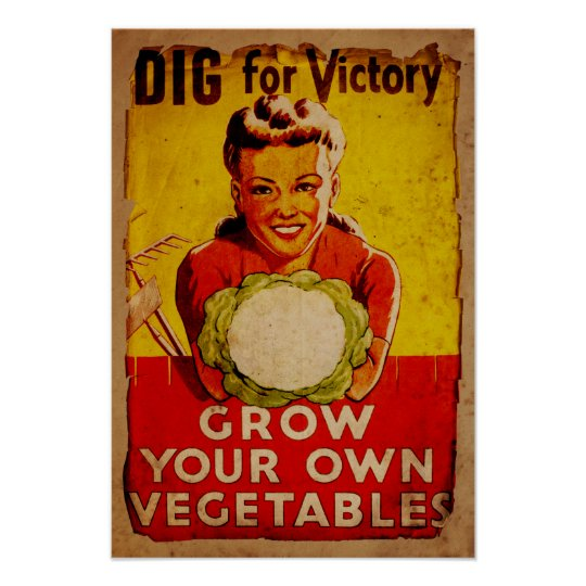 Dig For Victory WW2 Era Vintage Gardening Poster