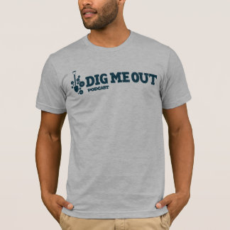 Dig Me Out Blue Horizontal Logo on Grey Heather T-Shirt