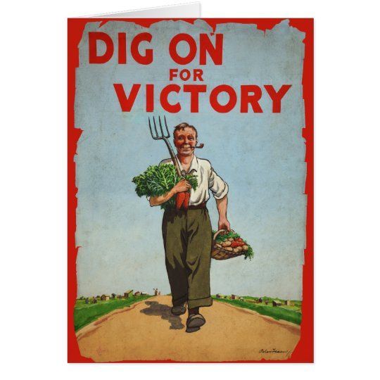 Dig on for Victory WW2 Era Vintage Card