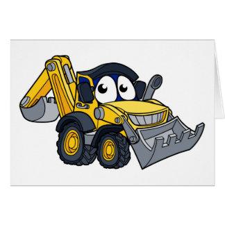 Digger Bulldozer Cartoon Character Card