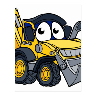 Digger Bulldozer Cartoon Character Postcard
