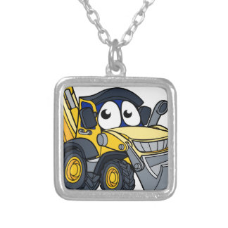 Digger Bulldozer Cartoon Character Silver Plated Necklace