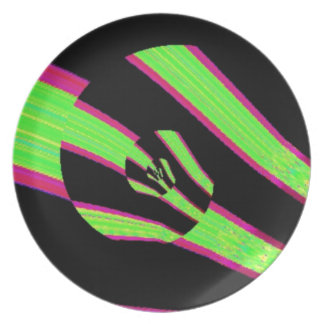 Digital Abstract Green and Pink Flower Party Plate