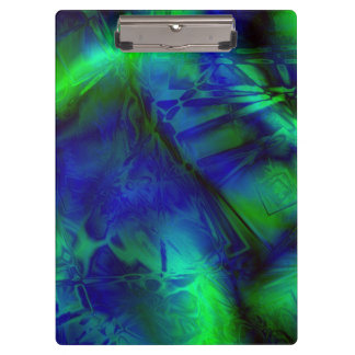 Digital Art Blue and Green Abstract Pattern Clipboard