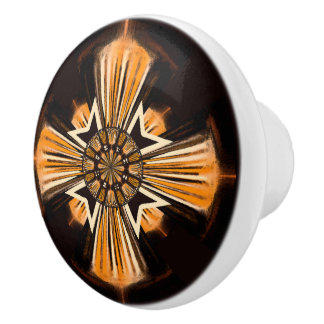 Digital art cross ceramic knob