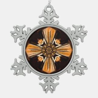 Digital art cross pewter snowflake decoration