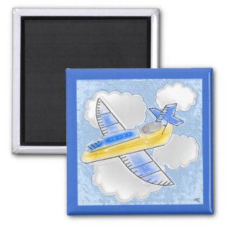 Digital Art Jet Airplane Square Magnet