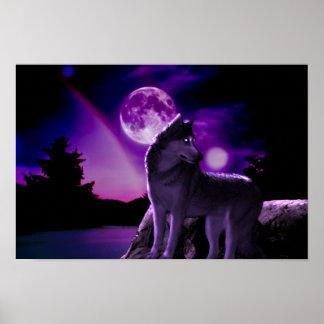 Digital Art Purple Wolf Poster