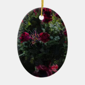 Digital Art Romantic Red Rose Bouquet Ceramic Oval Decoration