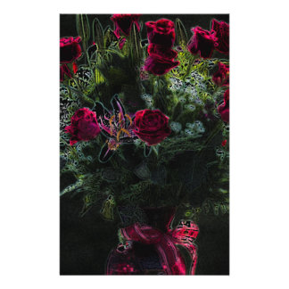 Digital Art Romantic Red Rose Bouquet Stationery