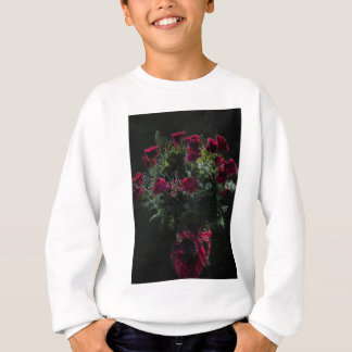 Digital Art Romantic Red Rose Bouquet Sweatshirt