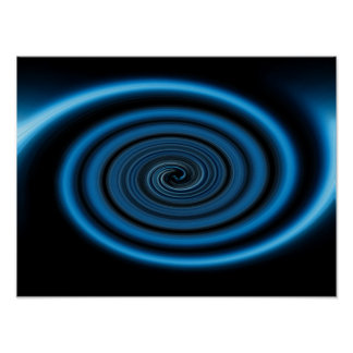 Digital artwork depicting an abstract blue spiral poster