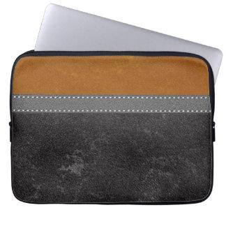 Digital Black Amber Leather Stitched Grey Strap Laptop Sleeve