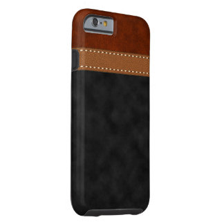 Digital Black Red Brown Suede Stitched Strap Tough iPhone 6 Case