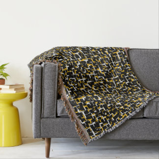 Digital Black White Yellow Pattern Throw Blanket