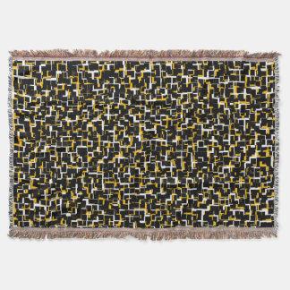 Digital Black White Yellow Pattern Throw Blanket