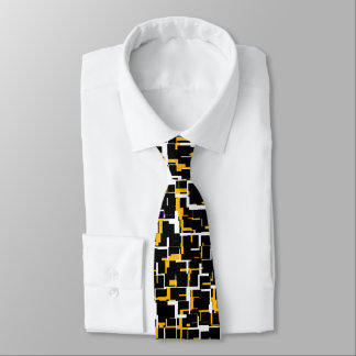 Digital Black White Yellow Pattern Tie