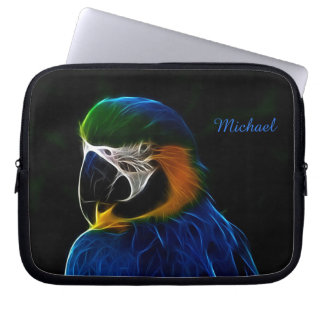 Digital blue parrot fractal laptop sleeves