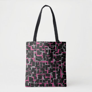 Digital Camo Black Magenta Gray Pattern Tote Bag