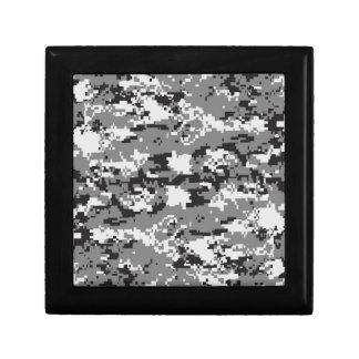 Digital camo Black white and grey Small Square Gift Box