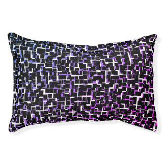 Digital Camo Black White Blue Purple Pattern Pet Bed