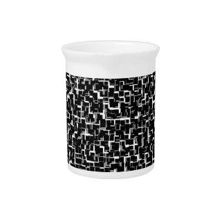 Digital Camo Black White Grey Gray Pattern Pitcher
