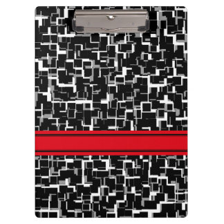 Digital Camo Black White Red Pattern Clipboard