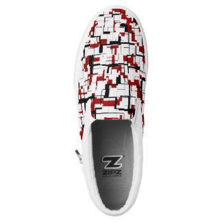 Digital Camo Black White Red Pattern Slip On Shoes