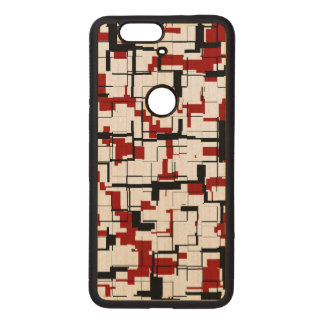 Digital Camo Black White Red Pattern Wood Nexus 6P Case