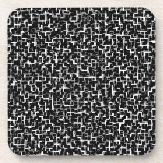Digital Camo Black White Yellow Pattern Coaster