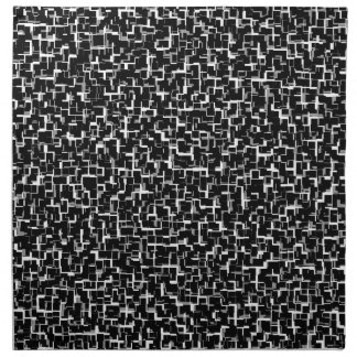 Digital Camo Black White Yellow Pattern Napkin