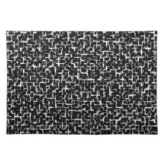 Digital Camo Black White Yellow Pattern Placemat