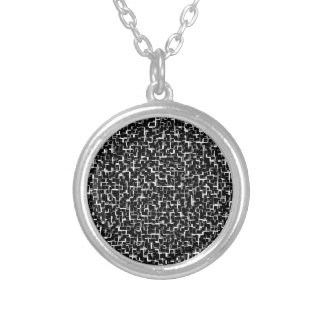 Digital Camo Black White Yellow Pattern Silver Plated Necklace