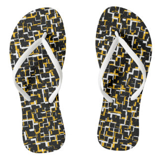 Digital Camo Black White Yellow Pattern Thongs