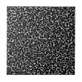 Digital Camo Black White Yellow Pattern Tile
