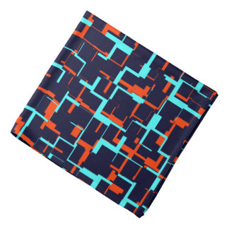 Digital Camo Blue and Orange Pattern Bandana