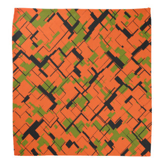 Digital Camo Green Orange Black Pattern Bandana