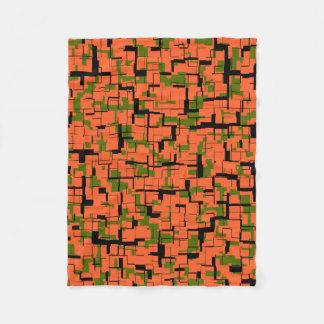Digital Camo Green Orange Black Pattern Fleece Blanket