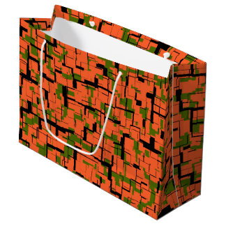 Digital Camo Green Orange Black Pattern Large Gift Bag