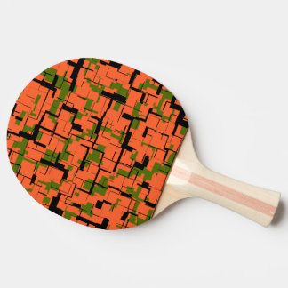 Digital Camo Green Orange Black Pattern Ping Pong Paddle