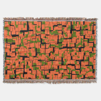Digital Camo Green Orange Black Pattern Throw Blanket